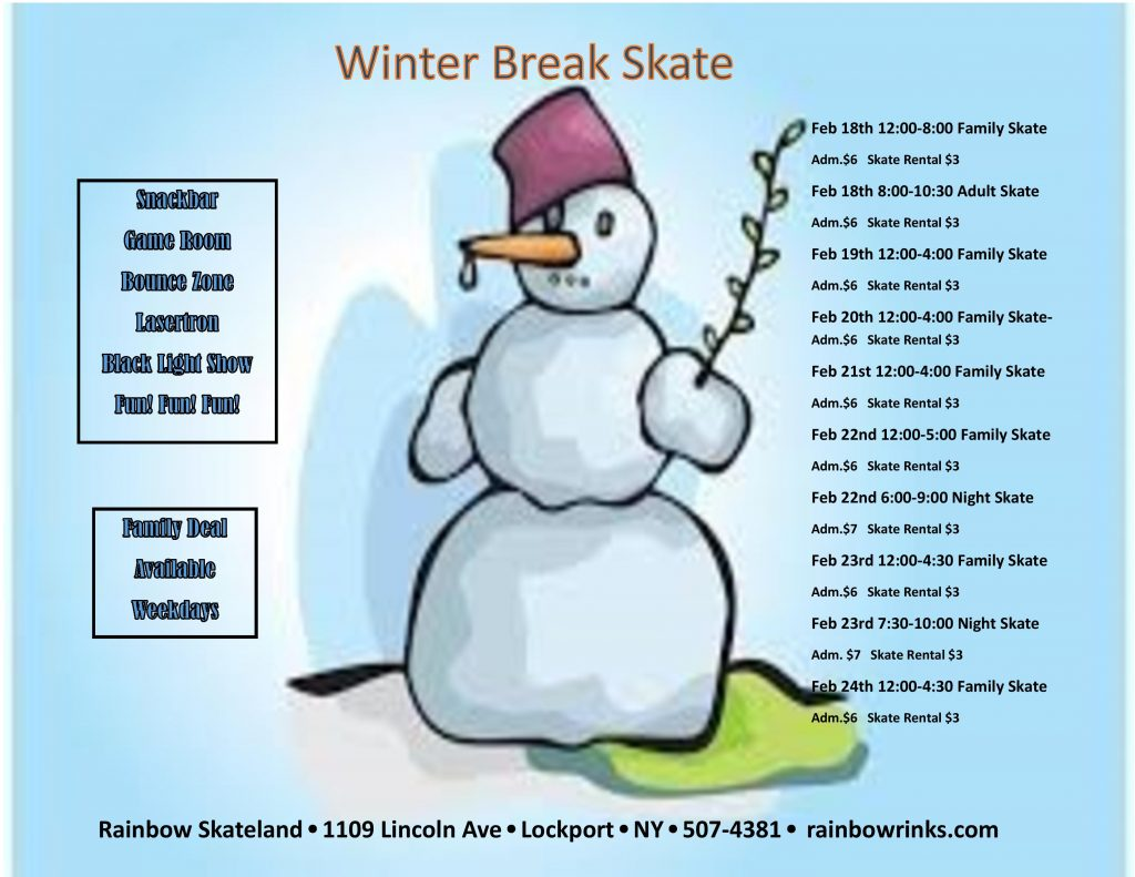 winter break skate rainbow skateland