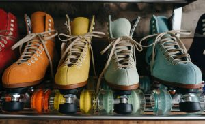Closeup of leather roller skates