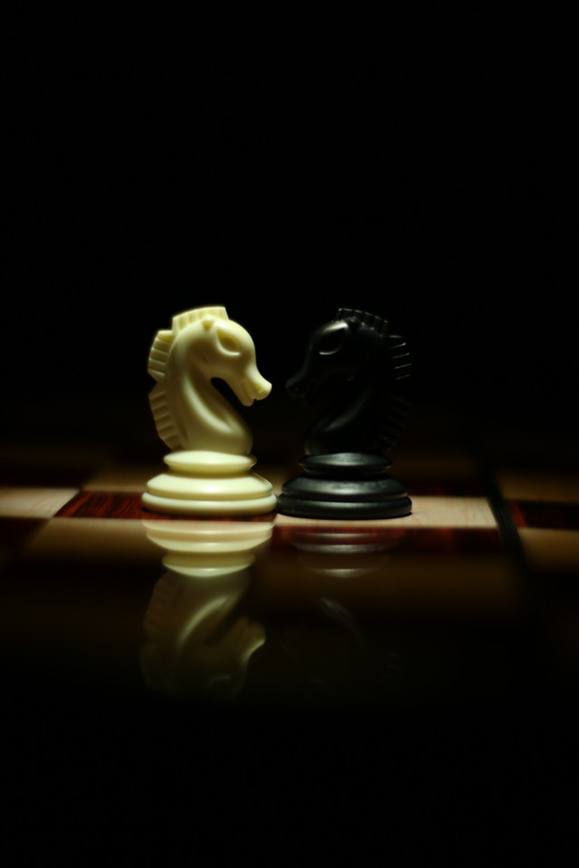Black and white knight chess pieces facing each other on chess board
